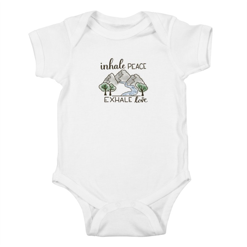 Inhale Peace Exhale Love Kids Baby Bodysuit by Panda Grove Studio's Artist Shop