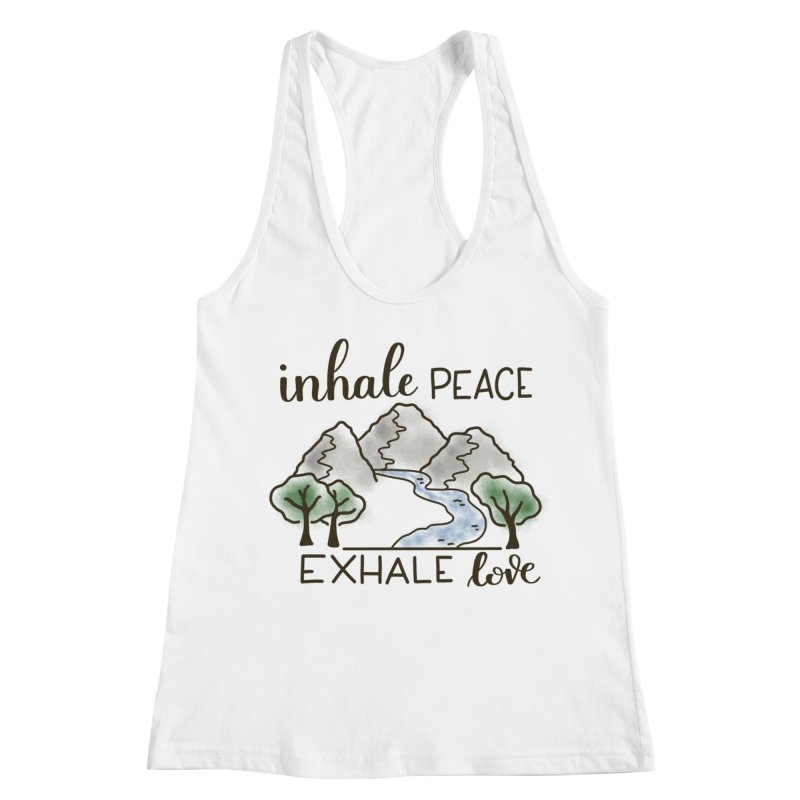Inhale Peace Exhale Love Women's Racerback Tank by Panda Grove Studio's Artist Shop