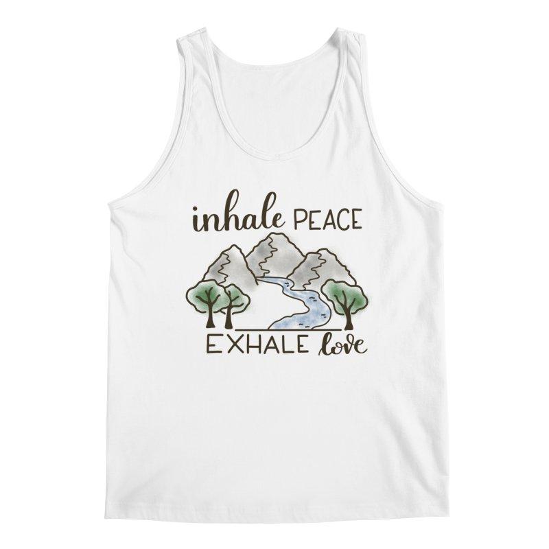Inhale Peace Exhale Love Men's Regular Tank by Panda Grove Studio's Artist Shop