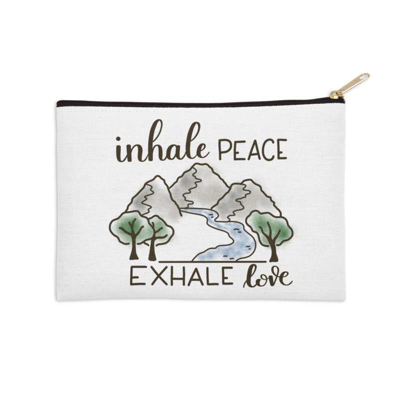 Inhale Peace Exhale Love Accessories Zip Pouch by Panda Grove Studio's Artist Shop