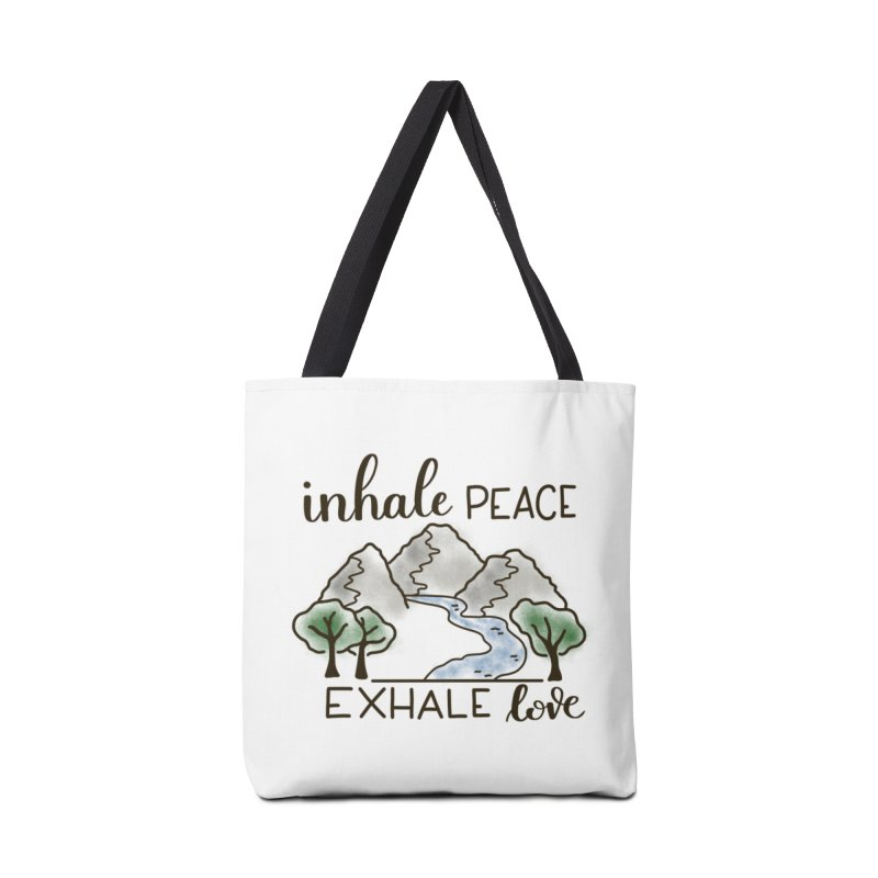Inhale Peace Exhale Love Accessories Tote Bag Bag by Panda Grove Studio's Artist Shop