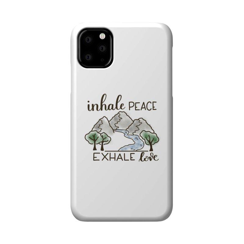 Inhale Peace Exhale Love Accessories Phone Case by Panda Grove Studio's Artist Shop