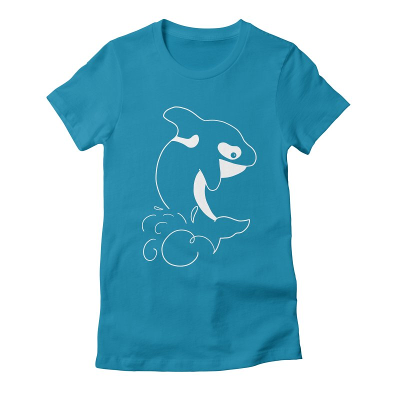 Orca Outreach Women's Fitted T-Shirt by Panda Grove Studio's Artist Shop
