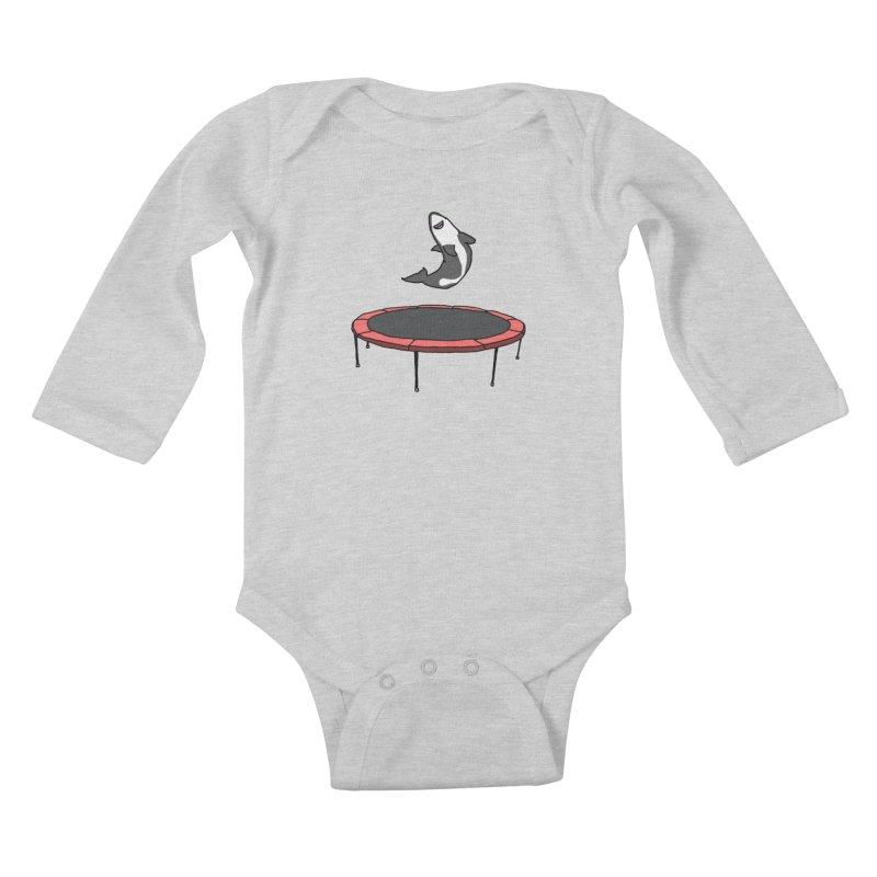Shark On A Trampoline Kids Baby Longsleeve Bodysuit by panelomatic's Artist Shop