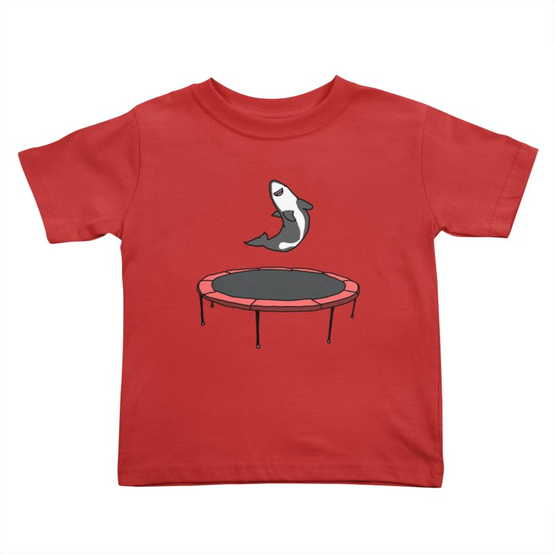 Shark On A Trampoline Kids Toddler T-Shirt by panelomatic's Artist Shop