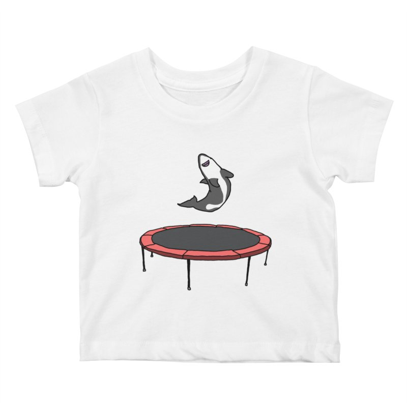 Shark On A Trampoline Kids Baby T-Shirt by panelomatic's Artist Shop