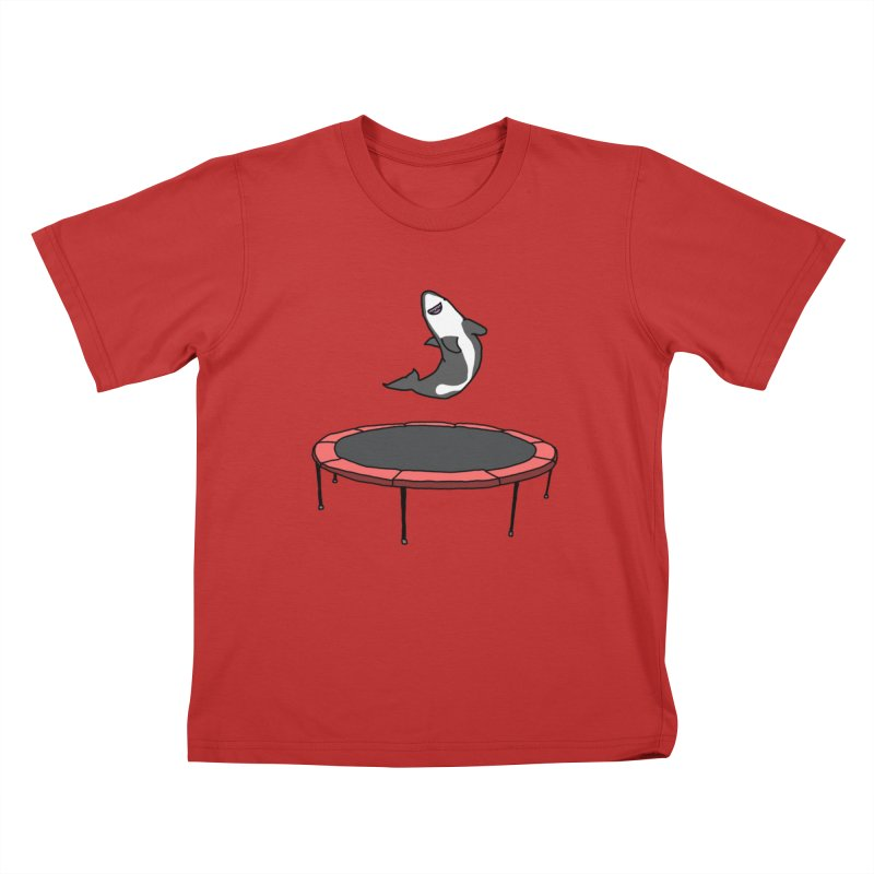 Shark On A Trampoline Kids T-Shirt by panelomatic's Artist Shop