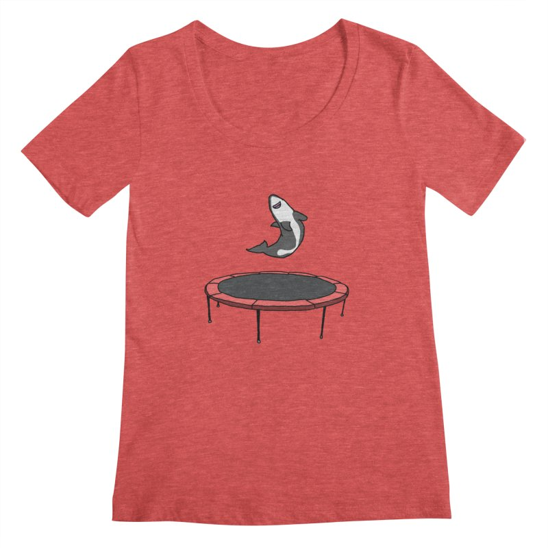 Shark On A Trampoline Women's Regular Scoop Neck by panelomatic's Artist Shop