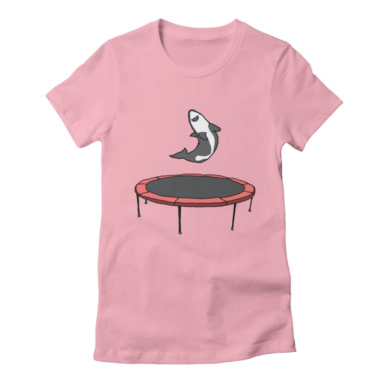 Shark On A Trampoline Women's Fitted T-Shirt by panelomatic's Artist Shop