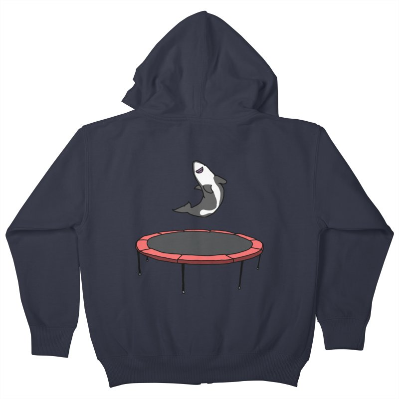 Shark On A Trampoline Kids Zip-Up Hoody by panelomatic's Artist Shop