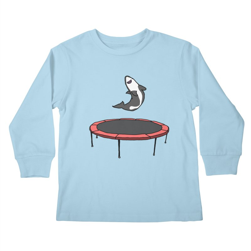 Shark On A Trampoline Kids Longsleeve T-Shirt by panelomatic's Artist Shop