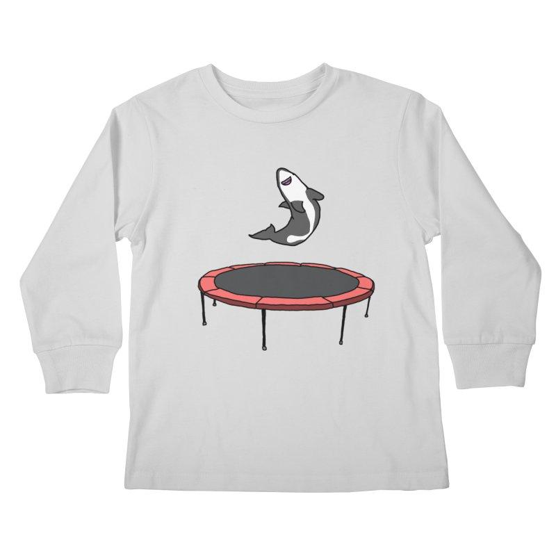 Shark On A Trampoline Kids Longsleeve T-Shirt by panelomatic's Artist Shop