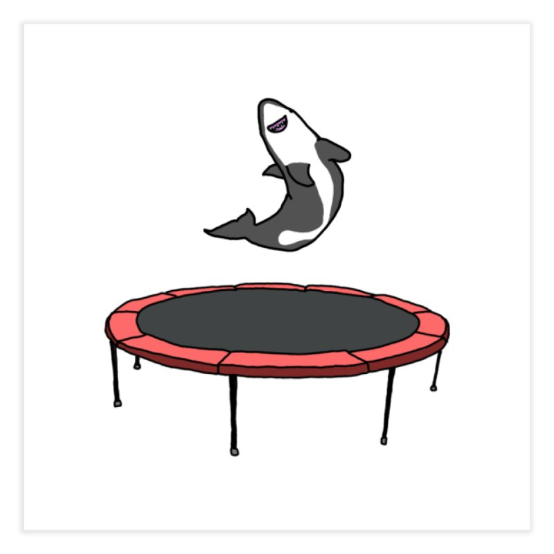 Shark On A Trampoline Home Fine Art Print by panelomatic's Artist Shop