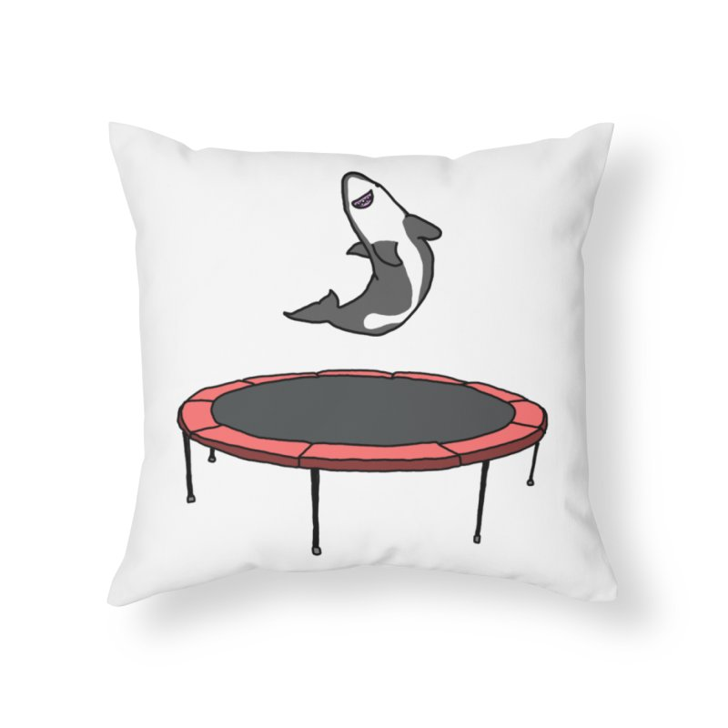 Shark On A Trampoline Home Throw Pillow by panelomatic's Artist Shop