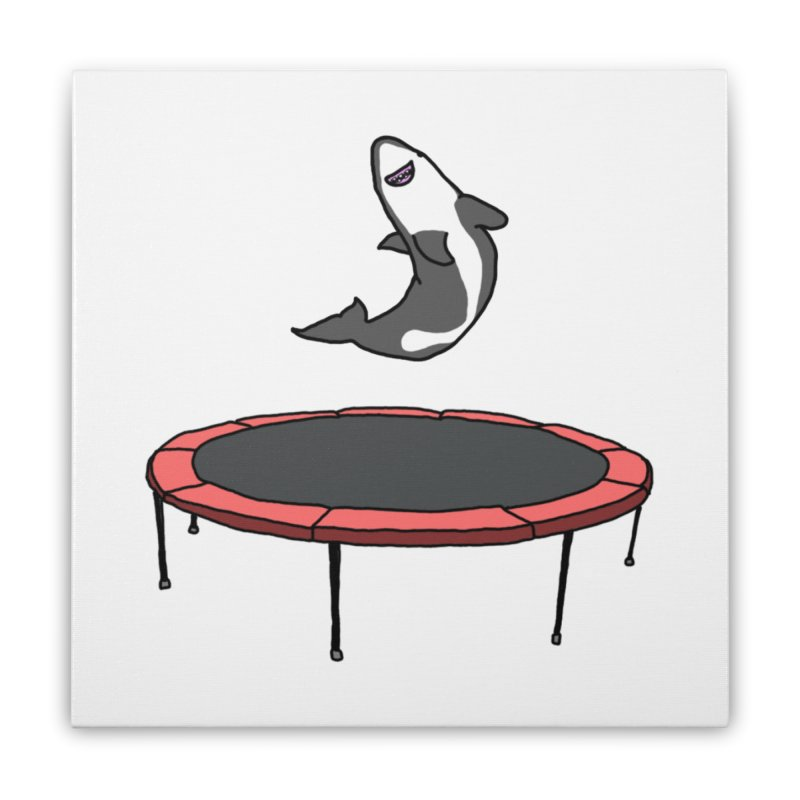 Shark On A Trampoline Home Stretched Canvas by panelomatic's Artist Shop