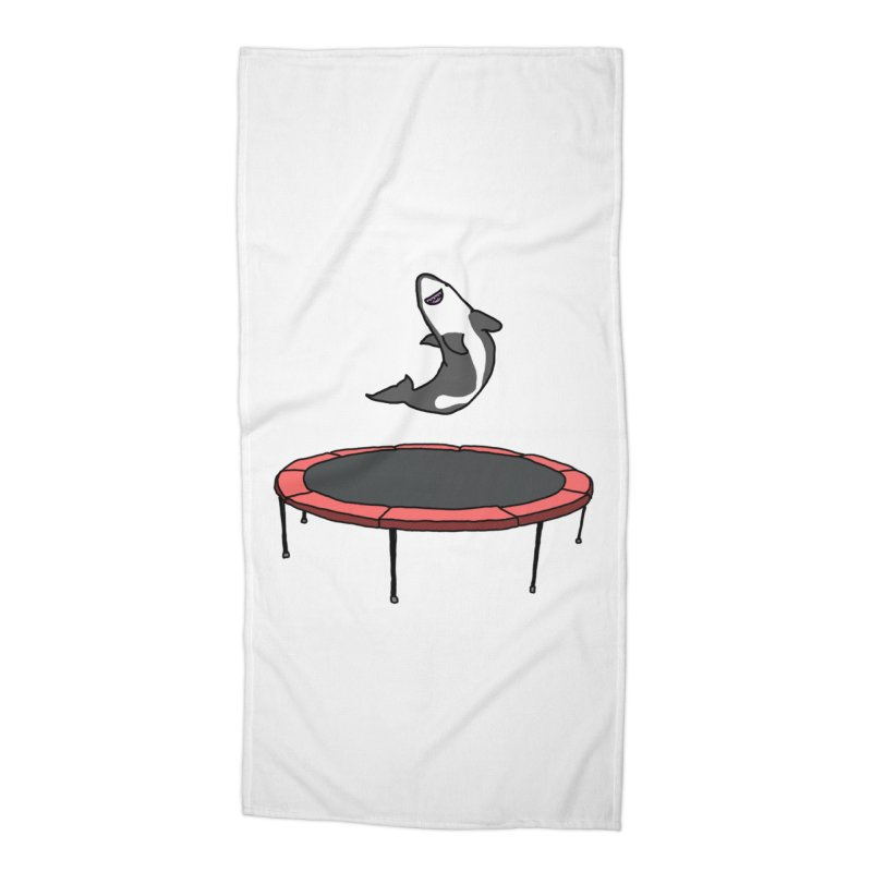 Shark On A Trampoline Accessories Beach Towel by panelomatic's Artist Shop