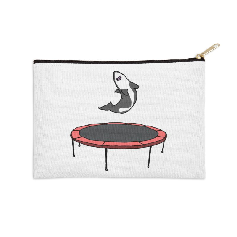 Shark On A Trampoline Accessories Zip Pouch by panelomatic's Artist Shop