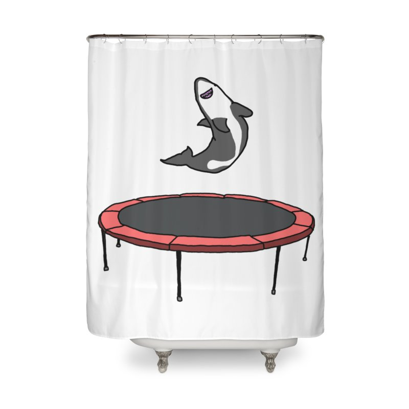 Shark On A Trampoline Home Shower Curtain by panelomatic's Artist Shop