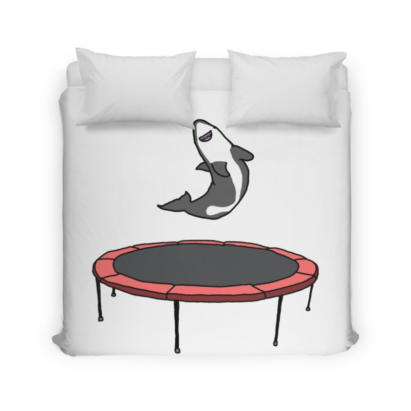 Shark On A Trampoline Home Duvet by panelomatic's Artist Shop