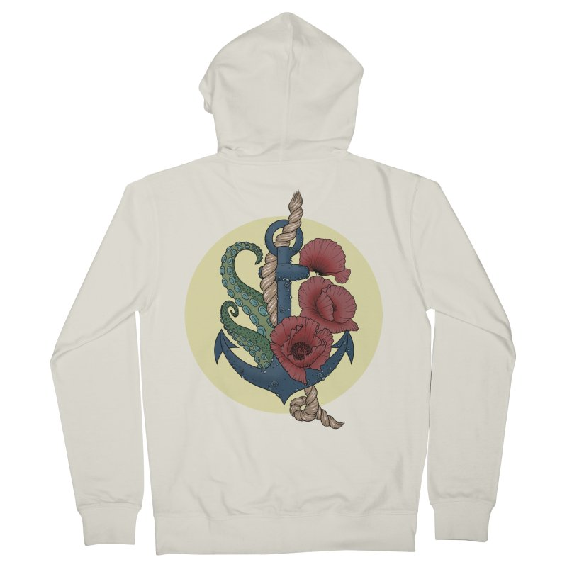 Anchor and flowers Men's Zip-Up Hoody by Crazy Pangolin's Artist Shop