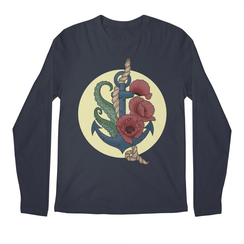Anchor and flowers Men's Longsleeve T-Shirt by Crazy Pangolin's Artist Shop