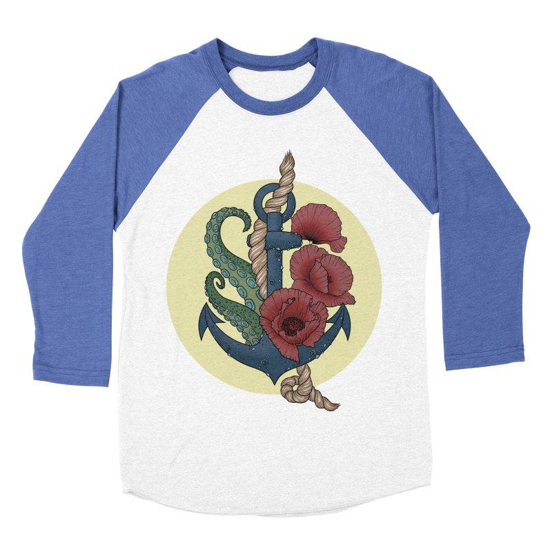 Anchor and flowers Women's Baseball Triblend T-Shirt by Crazy Pangolin's Artist Shop