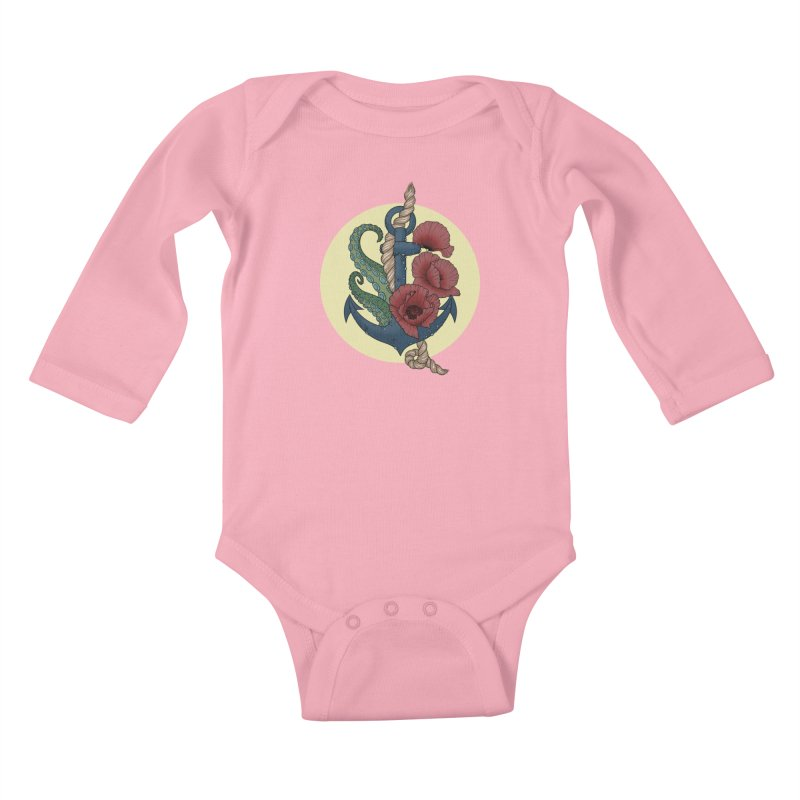 Anchor and flowers Kids Baby Longsleeve Bodysuit by Crazy Pangolin's Artist Shop