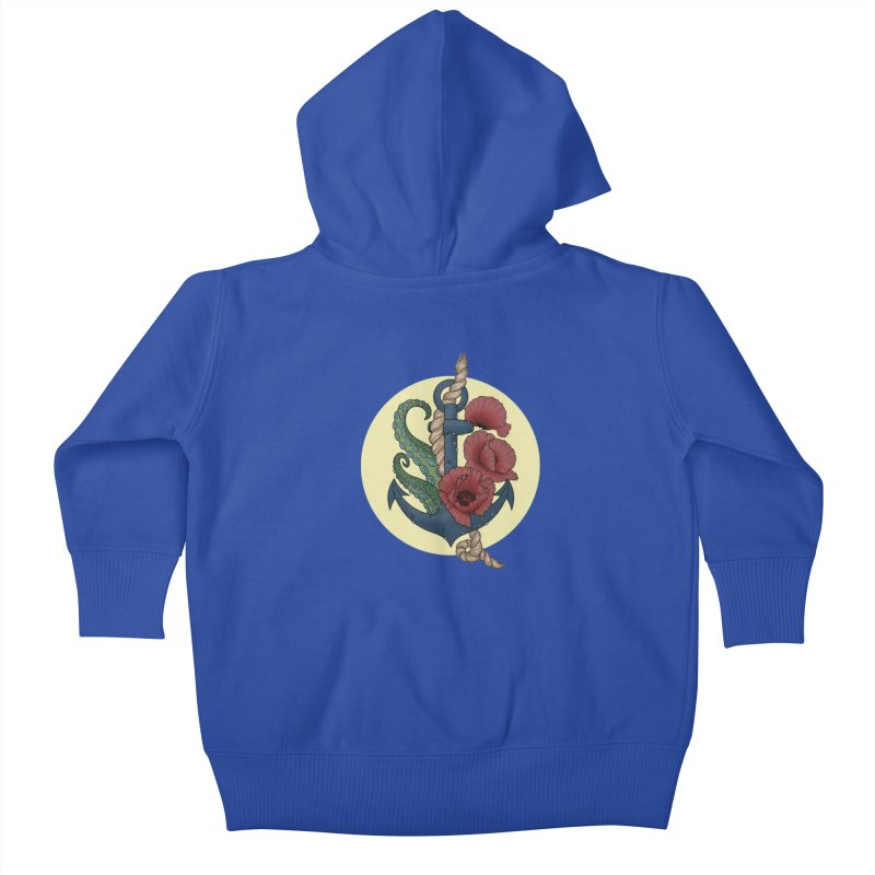 Anchor and flowers Kids Baby Zip-Up Hoody by Crazy Pangolin's Artist Shop