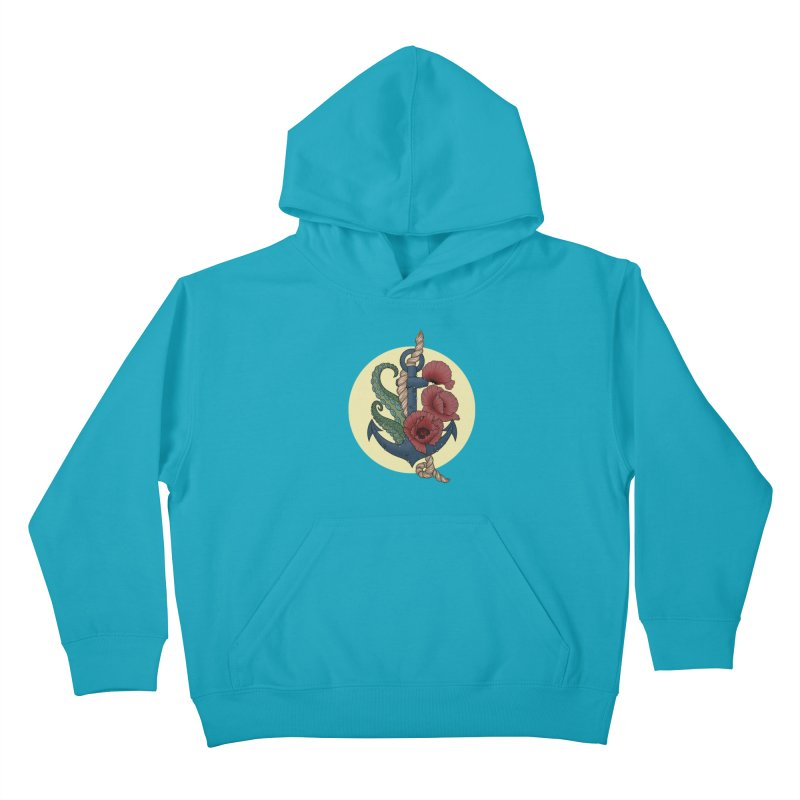 Anchor and flowers Kids Pullover Hoody by Crazy Pangolin's Artist Shop