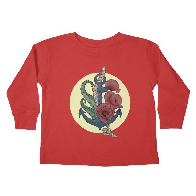 Anchor and flowers Kids Toddler Longsleeve T-Shirt by Crazy Pangolin's Artist Shop