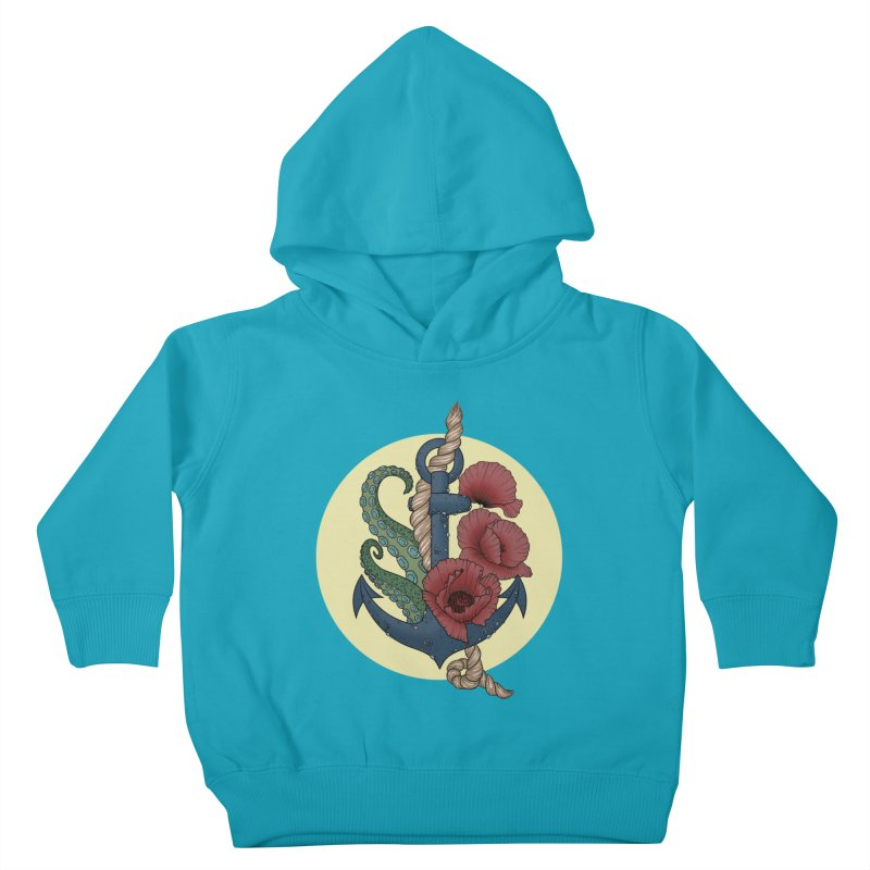 Anchor and flowers Kids Toddler Pullover Hoody by Crazy Pangolin's Artist Shop