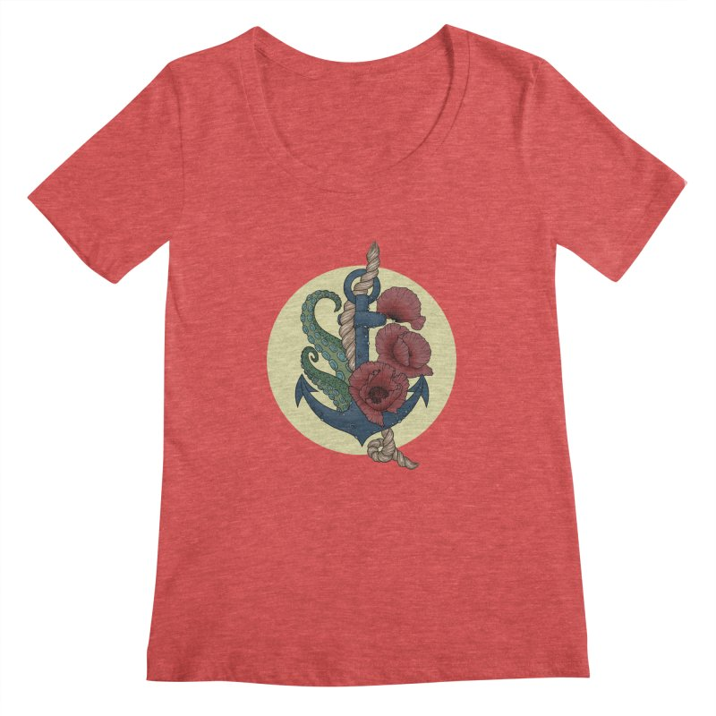 Anchor and flowers Women's Scoopneck by Crazy Pangolin's Artist Shop
