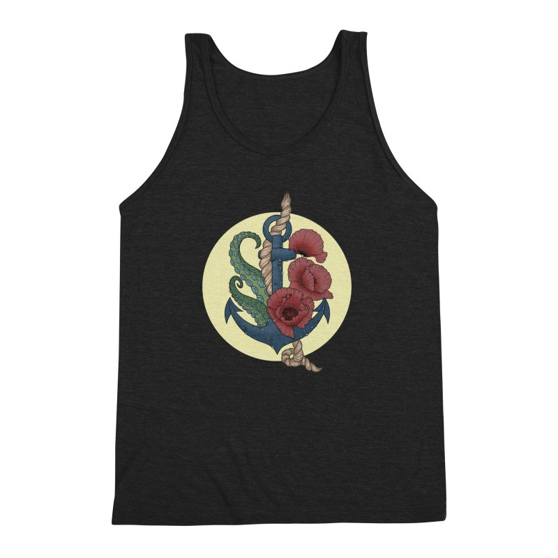 Anchor and flowers Men's Triblend Tank by Crazy Pangolin's Artist Shop
