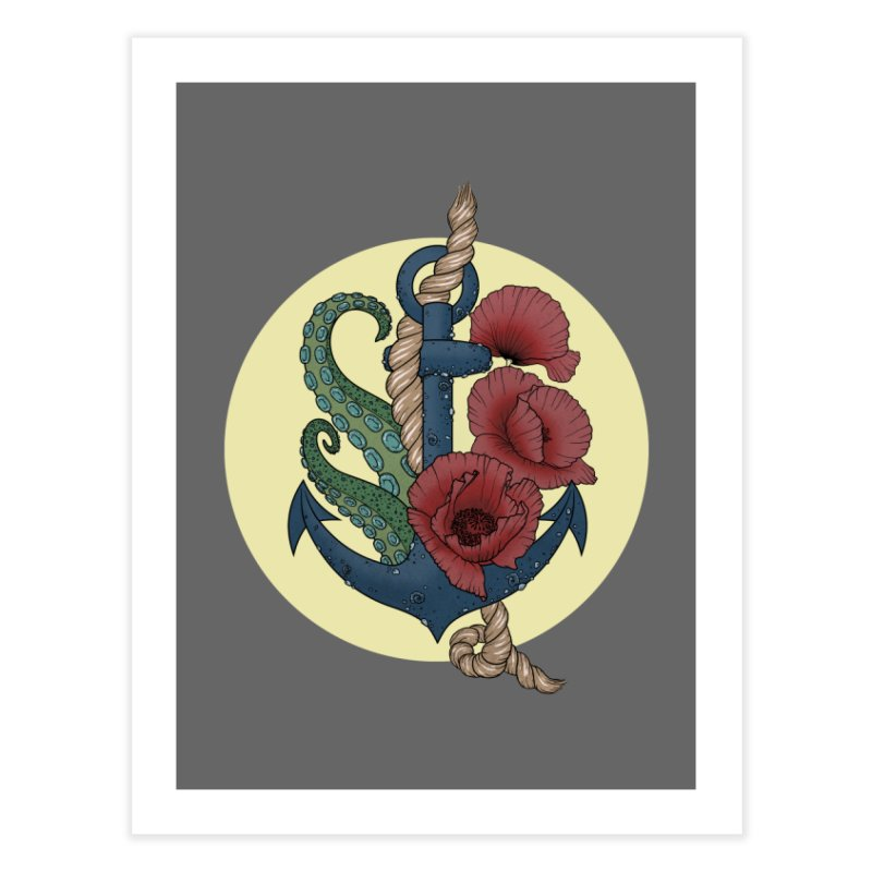 Anchor and flowers Home Fine Art Print by Crazy Pangolin's Artist Shop