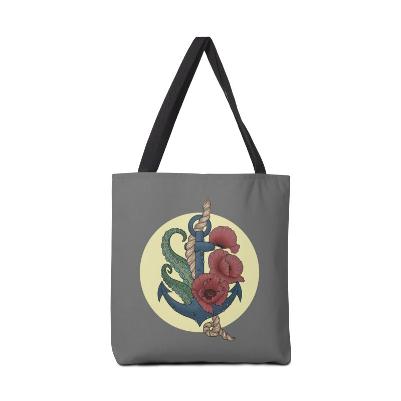 Anchor and flowers Accessories Bag by Crazy Pangolin's Artist Shop