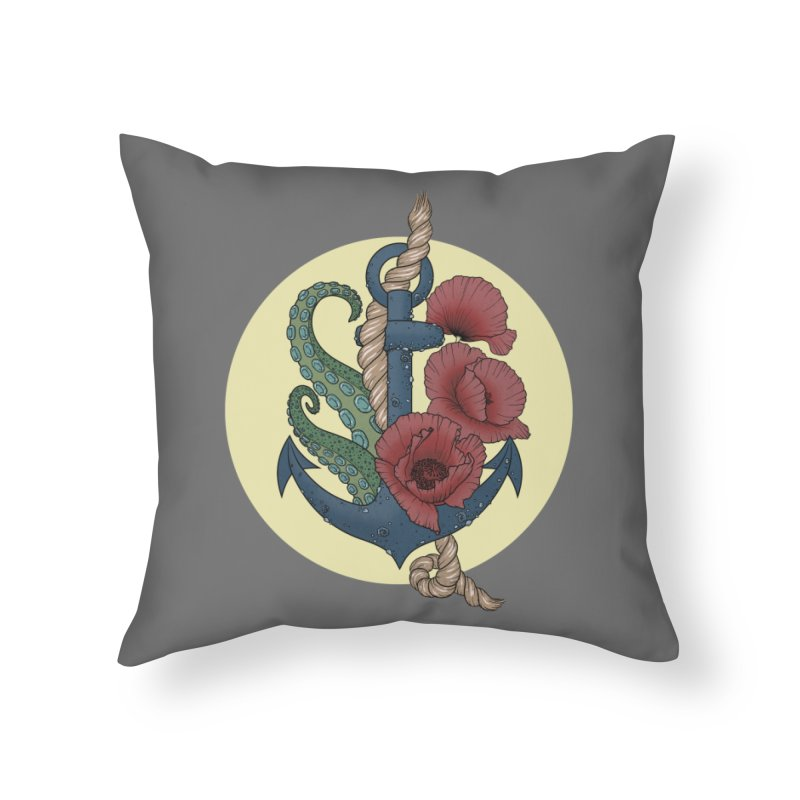 Anchor and flowers Home Throw Pillow by Crazy Pangolin's Artist Shop