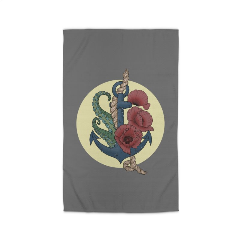 Anchor and flowers Home Rug by Crazy Pangolin's Artist Shop