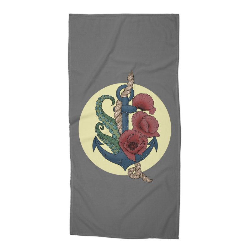 Anchor and flowers Accessories Beach Towel by Crazy Pangolin's Artist Shop
