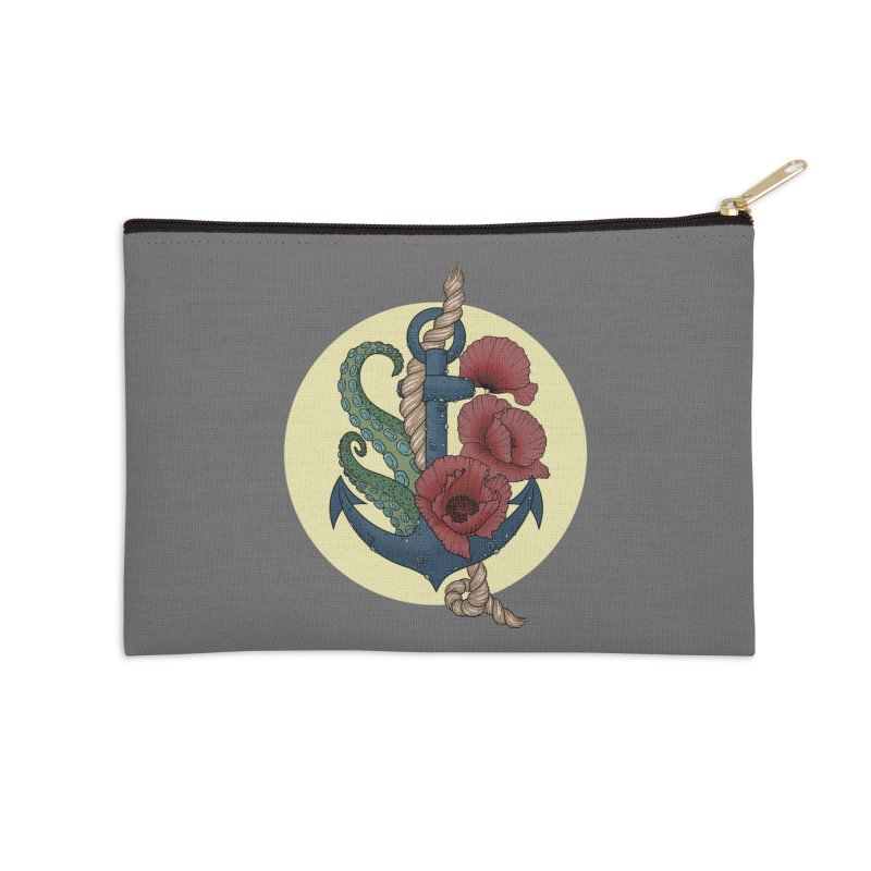 Anchor and flowers Accessories Zip Pouch by Crazy Pangolin's Artist Shop