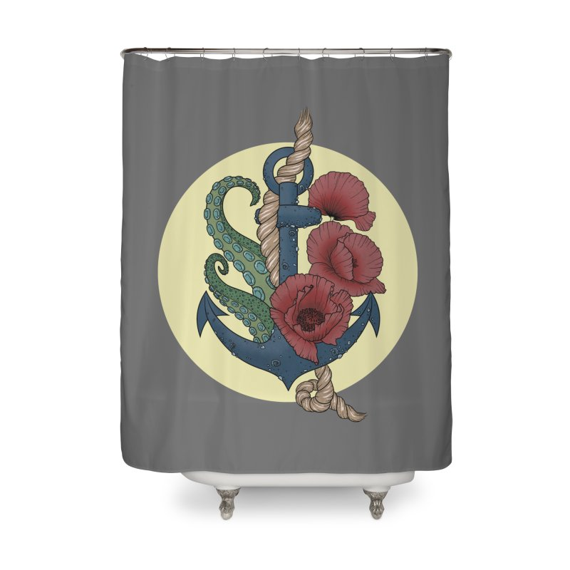 Anchor and flowers Home Shower Curtain by Crazy Pangolin's Artist Shop