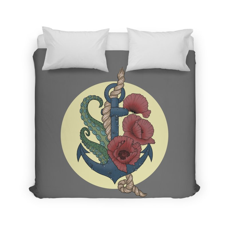 Anchor and flowers Home Duvet by Crazy Pangolin's Artist Shop