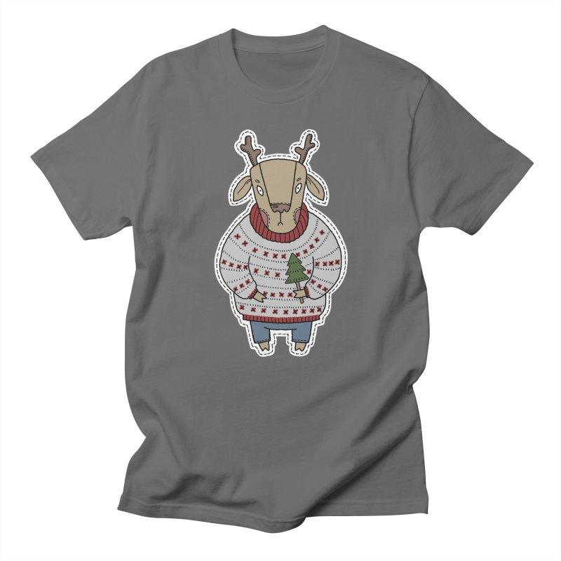 Christmas Deer Men's T-Shirt by Crazy Pangolin's Artist Shop