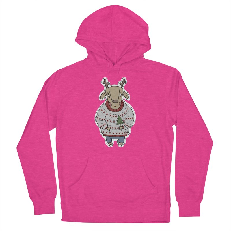 Christmas Deer Women's French Terry Pullover Hoody by Crazy Pangolin's Artist Shop