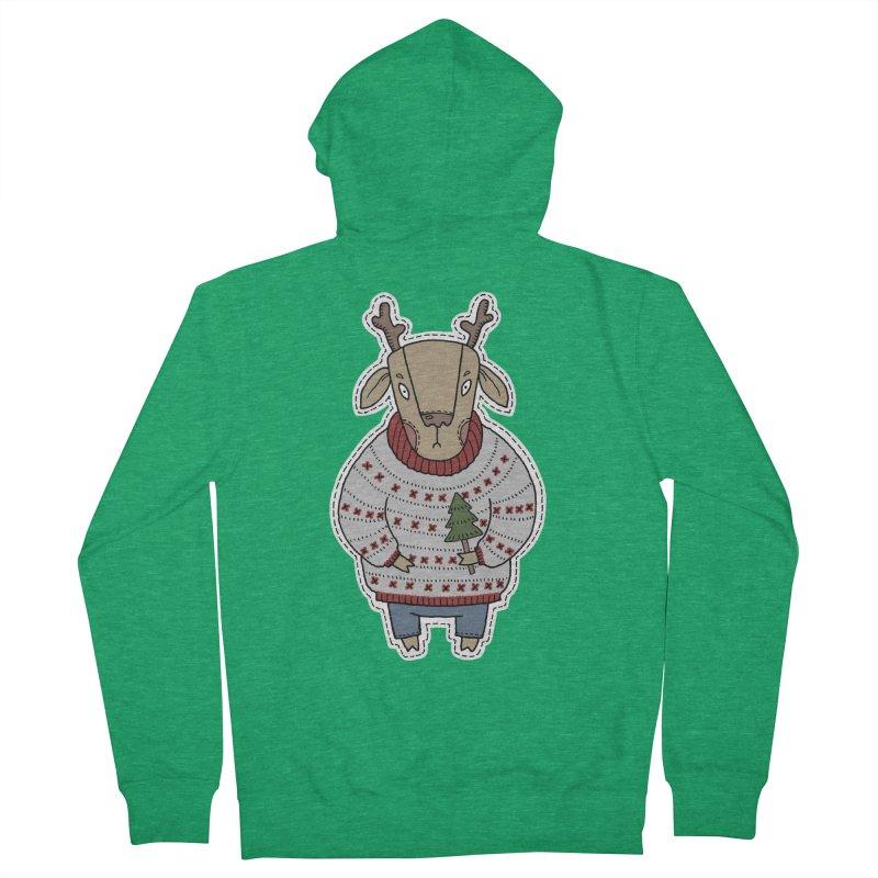 Christmas Deer Women's French Terry Zip-Up Hoody by Crazy Pangolin's Artist Shop