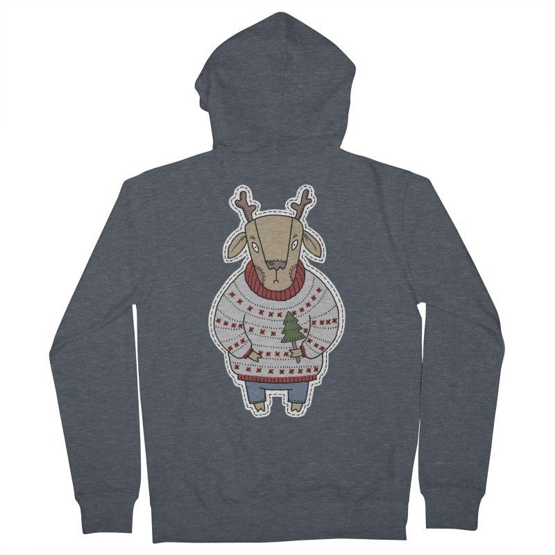 Christmas Deer Women's Zip-Up Hoody by Crazy Pangolin's Artist Shop