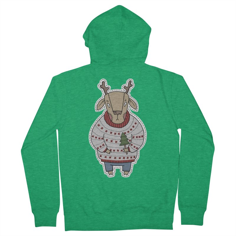 Christmas Deer Men's Zip-Up Hoody by Crazy Pangolin's Artist Shop