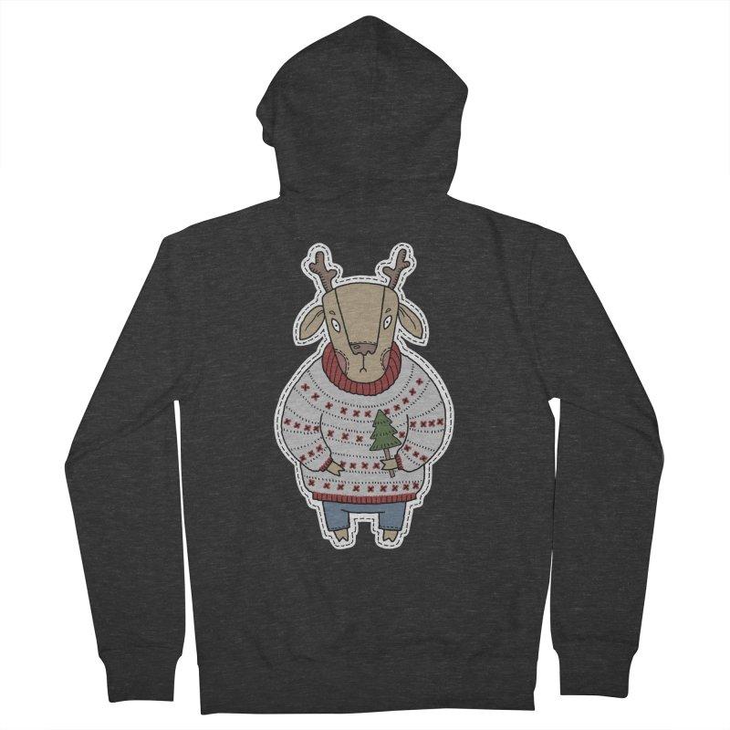 Christmas Deer Men's Zip-Up Hoody by Crazy Pangolin's Artist Shop