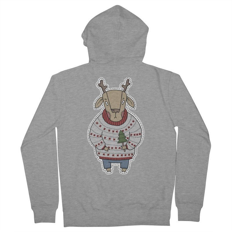Christmas Deer Men's French Terry Zip-Up Hoody by Crazy Pangolin's Artist Shop