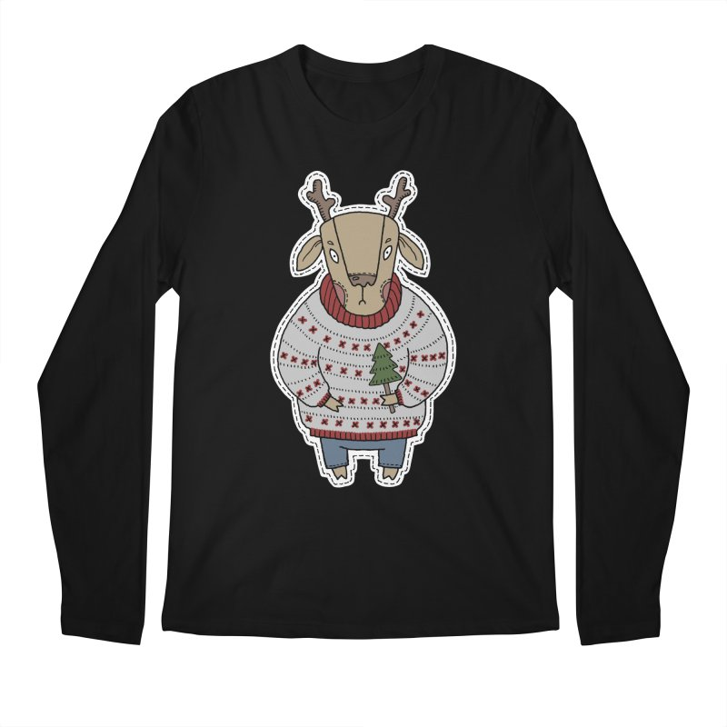 Christmas Deer Men's Regular Longsleeve T-Shirt by Crazy Pangolin's Artist Shop