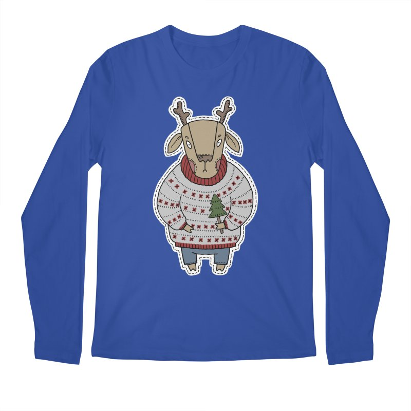 Christmas Deer Men's Longsleeve T-Shirt by Crazy Pangolin's Artist Shop